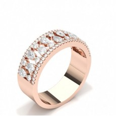 Rose Gold Half Eternity Diamond Rings