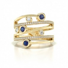 Round Yellow Gold Statement Diamond Rings