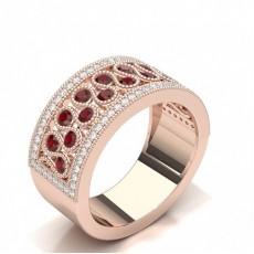 Round Rose Gold Statement Diamond Rings
