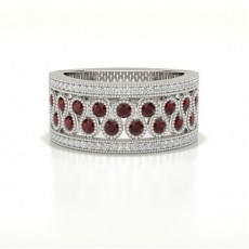 Prong Setting Studded Round Ruby Fashion Ring