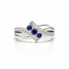 Round 4 Prong Setting Blue Sapphire Three Stone Ring