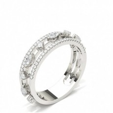 Mixed Shapes Silver Diamond Eternity Rings