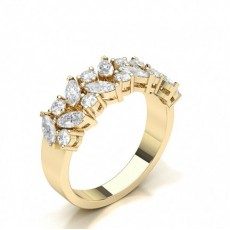 Mixed Shapes Yellow Gold Diamond Half Eternity Rings