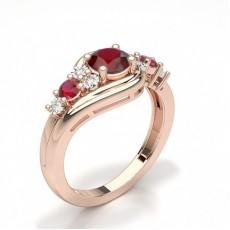 Round Rose Gold Gemstone Diamond Engagement Rings