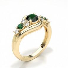 Round Yellow Gold Gemstone Diamond Engagement Rings
