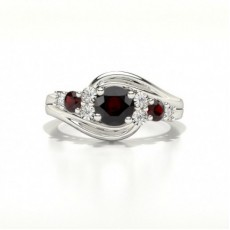 4 Prong Setting Three Stone Ruby Ring