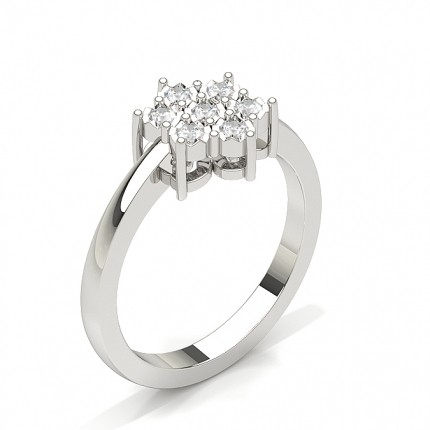 Cluster Prong Setting Round Diamond Ring