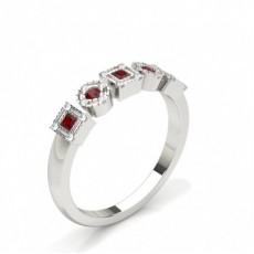 Princess White Gold Diamond Rings