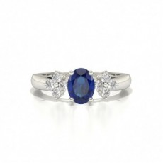 4 Prong Setting Oval Blue Sapphire Three Stone Ring