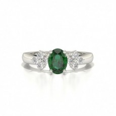 4 Prong Setting Oval Emerald Three Stone Ring