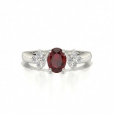 4 Prong Setting Oval Ruby Three Stone Ring