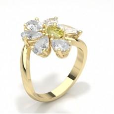 Pear Yellow Gold Diamond Rings