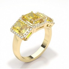 Smaragd Gelbgold Diamond Rings Three Stone