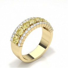 Pear Yellow Gold Diamond Half Eternity Rings