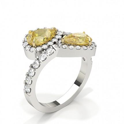 Two Stone Yellow Dimaond  Fashion Ring