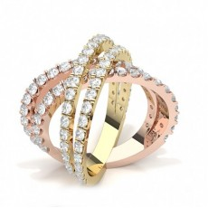 Round Rose Gold Statement Diamond Rings
