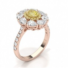 Or Rose Bagues en diamant jaune