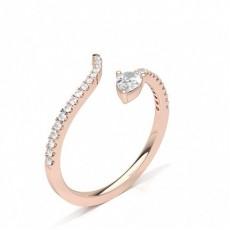 Pear Rose Gold Statement Diamond Rings