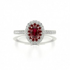 4 Prong Setting Oval Ruby Halo Engagement Ring
