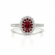 Platinum Gemstone Diamond Engagement Rings