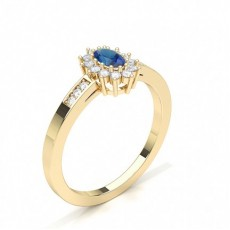 Oval Yellow Gold Gemstone Engagement Rings