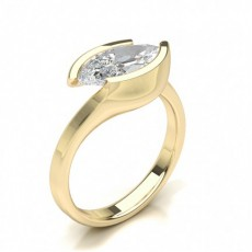 Marquise Yellow Gold Solitaire Diamond Rings
