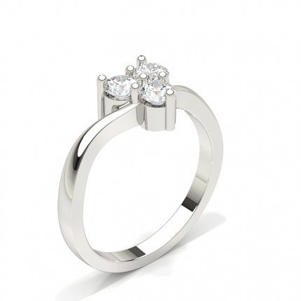 Fancy Round Crossover Diamond Engagement Ring