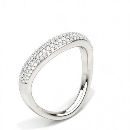 Alliance courbée confort diamant rond serti pavé