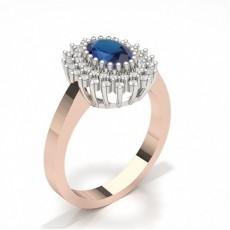 Oval Rose Gold Gemstone Diamond Engagement Rings