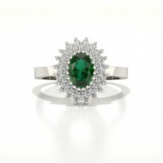 Prong Emerald Oval Halo Ring
