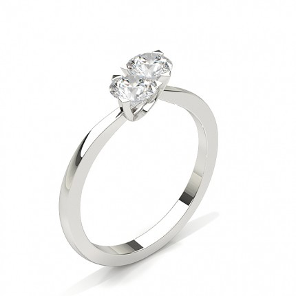 Prong Setting Plain Two Stone Ring