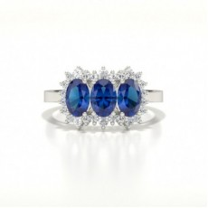 4 Prong Setting Oval Three Stone Blue Sapphire Ring