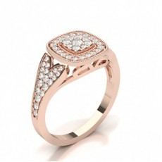 Rose Gold Engagement Cluster Rings