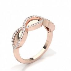 Round Rose Gold Promise Diamond Rings