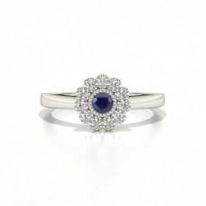 Full Bezel Setting Blue Sapphire Cluster Ring