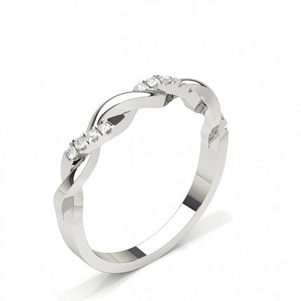 Alliance courbée confort diamant rond serti griffes