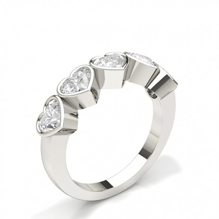 Bezel Setting Plain Five Stone Ring