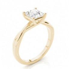Princess Yellow Gold Classic Solitaire Diamond Engagement Rings