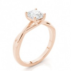 Cushion Rose Gold Classic Solitaire Diamond Engagement Rings