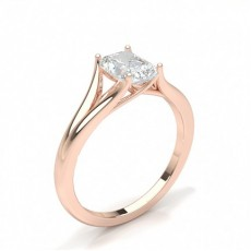 Radiant Or Rose Bague solitaire diamant