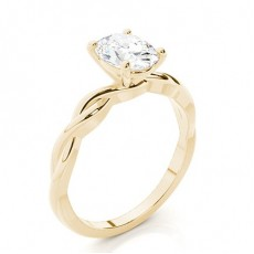 Oval Yellow Gold Classic Solitaire Diamond Engagement Rings