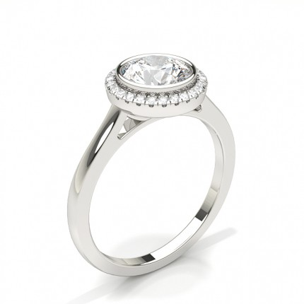 Bezel Setting Halo Diamond Engagement Ring