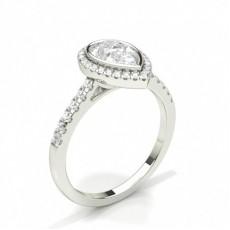 Pear Halo Diamond Engagement Rings