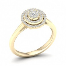 Yellow Gold Diamond Engagement Cluster Rings