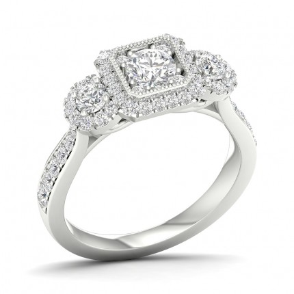 Micro Pave Setting Round Diamond Trilogy Ring
