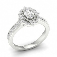 Micro Pave  Setting Oval Diamond Halo Ring