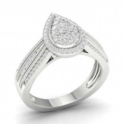 Channel Setting  Round Diamond Cluster Ring