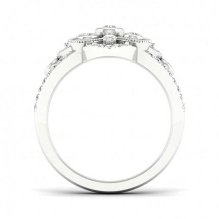 Bague fantaisie diamant rond serti lunette pleine