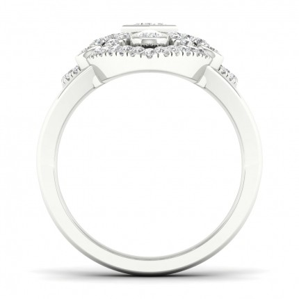 Full Bezel  Setting Princess Diamond Fashion Ring
