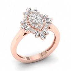 Prong Setting Marquise  Diamond Halo Ring